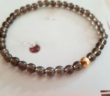 SMOKY QUARTZ STRETCH BRACELET GOLD FILL TINY HANDMADE DESIGNER JEWELRY CHAKRA