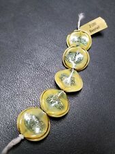 NEW Seashell Beads-Glass Yellow & Green Oval Beads w/ Green Metallic Flakes