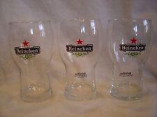 """Set of 3 - 5"""" Tall .25 L - Heineken Beer Glass"""
