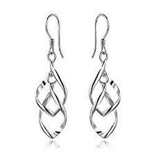 silver tone twist leaf chandelier dangle earrings