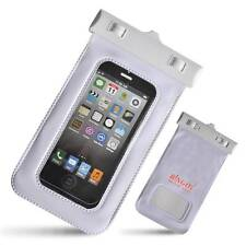 "Waterproof Case Bag for 5"" Phone + Strap iPhone 4 4S 5 WP06133 White"