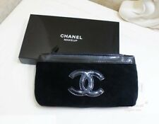 CHANEL Beauty Makeup Trousse Bag Iphone Pouch Clutch Black Velvet WITH BOX P/F!