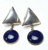 Große Vintage Ohrringe 80th - 925 Silber RMCH-Mexico Lapis Lazuli - A 880