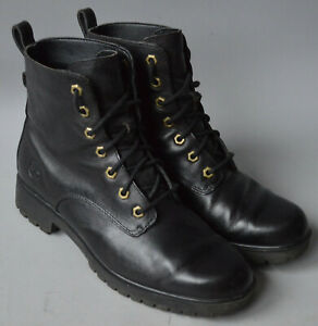 Ladies Black Timberland Leather Lace Up Ankle Boots Size UK 6, EU 39.