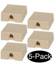 5x RJ11 6P4C Telephone/Phone Line Ivory Modular Surface Mount Box