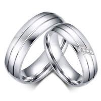 Verlobung Inlay Zircon Finger Zweier Ring Hochzeit Rostfreier Stahl Band