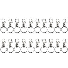 Silver Lobster Claw Clasp Swivel Hook Keychain + Split key Rings Sets