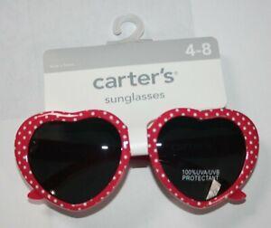 New Carter's Girls Sunglasses 4 year + 100% UVA-UVB Red Heart w White Polka Dots