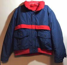 Vtg astorONE Astor One Red Blue Thick Ski Winter Puff Jacket Zip and Snap Large