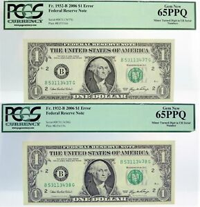 (2) 2006 $1 FRN NY Fr#1932-B Turned Digit Error Consecutive PCGS Gem New 65 PPQ