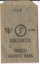 USED TRUSTEE SAVINGS BANK 10/- 3d BRONZE PAPER COIN BAG - GREEN