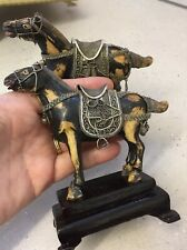 Vintage Carved Pair Chinese Export Horses Filigree And Stone in Original Box