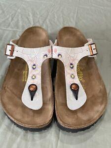 Birkenstock Papillio Gizeh T-Strap Flip Flop Thong Sandals 38 Floral