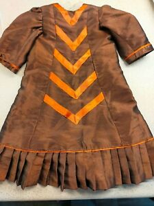 VICTORIAN STYLE BROWN SATIN DRESS FOR 24ins DOLL