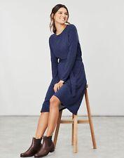 Joules Womens Monica Long Sleeve Waisted Jersey Dress - Navy Teal Spot
