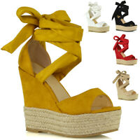 Womens High Heel Wedge Sandals Ladies Strappy Lace Up Platform Shoes Size 3-8