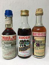 Lotto 3 Bottiglie Mignon Zucca Rabarbaro Bergia Elisir China Amaro Di S. Maria A