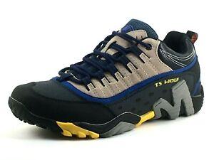 TS Wolf Mens UK 7.5 Navy Blue / Beige Waterproof Walking Hiking Trail Trainers