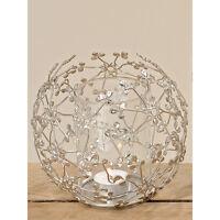 Teelichthalter - Windlicht aus Metall mit Glaseinsatz silber