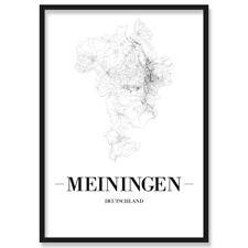 JUNIWORDS Stadtposter, Meiningen, Weiß, Kunstdruck Plan Map