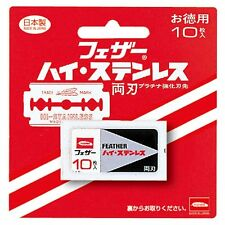 Feather/High stainless double-edged Spare blade 10 pieces/Japanese Razor Made