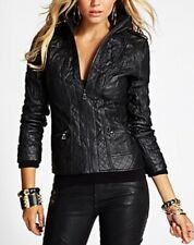 Guess BAMBA Bomber Faux Leather Jacket Quilted Moto Jacket Black Zip Up S