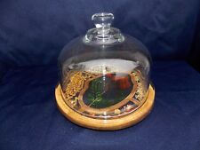 Vintage Mid Century Glass Domed Cheese Serving Dish Resin Encased Flower Ladybug