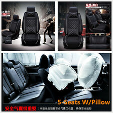 Auto Car Seat Cover Cushion 5-Seats Front + Rear PU Leather w/Pillows Size M