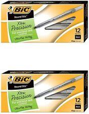 2 Bic Round Stic Xtra Precision Ballpoint Pen Medium Point Black 12 Ct