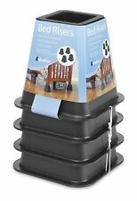 Set of 4 Bed Risers Riser Black Leveling Blocks Stands Increase Beds Non Slip