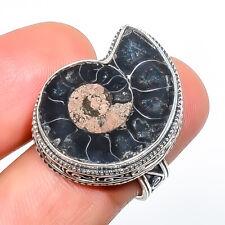 Ammonite - Fossil 925 Sterling Silver Fine Art Ring s.7.5 F2527