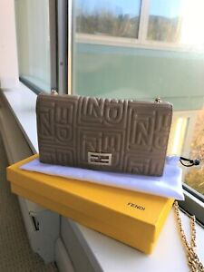 FENDI Beige Embossed Leather Chain Clutch Bag (Wallet on Chain)