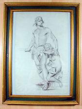 Grand dessin fusain / papier vergé XIX académique Vercingétorix 59 x 45 cm