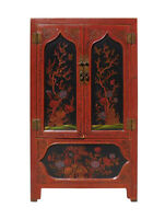 Chinese Red Black Flower Graphic Armoire Wardrobe Cabinet cs1327