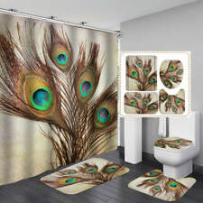 Peacock Feather Door Bath Mat Toilet Cover Rugs Shower Curtain Bathroom Decor