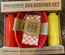 New Mission grill Co Bbq Serving Set Baskets liners ketchup & Mustard dispensers