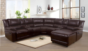NEW Brown Leather Recliner Sectional w/ Chaise & 4 Cupholder & 2 Console Storage