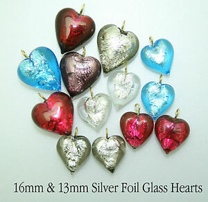 Silver Foil Glass Hearts; Sizes 13mm or 16mm Turquoise/Purple/Red/Pink/Grey