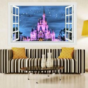 Princess's castle 3D WINDOW REMOVABLE KIDS ART WALL STICKERS Finish Size 50*70cm