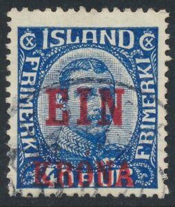 Iceland Scott 150/Facit 159, EIN KRONA/40 aur blue Provisional, F-VF used