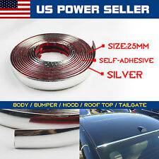 12ft Soft Chrome Molding Trim Auto Door Body Side Protector Strip Silver Line