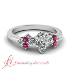 .75 Ctw. Pear Shaped Diamond And Round Pink Sapphire Delicate Engagement Ring