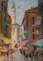 OSSO Ölgemälde Straßenszene Rom Impressionismus gelistet