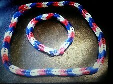 Rubber Band Necklace & Bracelet Set *** Red White & Blue