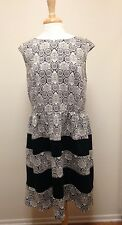 LONDON TIMES Woman Jacquard Fit & Flare Dress With Black Insets 16W 1X