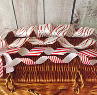 Christmas Candy Cane Stripe Red & White Wired Ribbon Wedding Cake Trim Crafts 1M