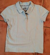 ☀️ Gap Girls Lt Blue Polo Shirt Collar Top School Uniform Short Sleeve Medium 8