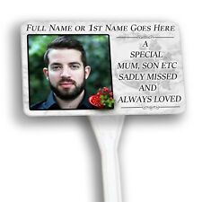 Your Photo Personalised Small Memorial Plaque & Stake.  family, garden, grave