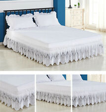 Home Wrap Around Elastic Eyelet BedSkirt Dust Ruffle Three Fabric Sides Easy ON