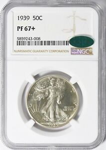 """1939  Walker Half NGC PF 67+ """"CAC"""" Stickers FREE SHIPPING US ONLY"""